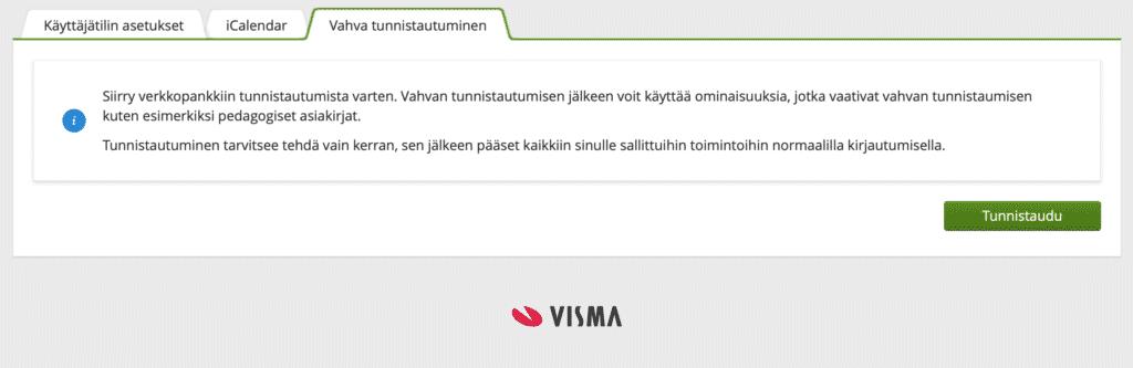 Kuva Wilman sivusta, jossa voi tunnistautua vahvasti käyttäen suomi.fi -tunnistusta