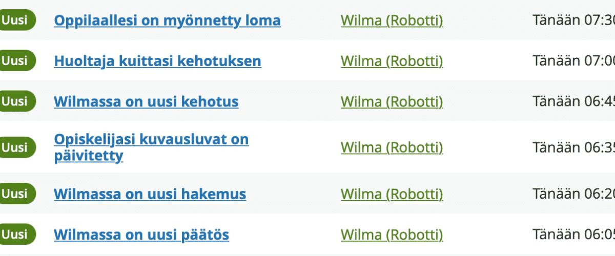 Kuvassa on lista Wilman lähettämistä automaattisista viesteistä